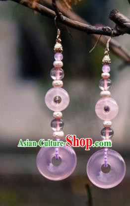Chinese Ancient Princess Pink Ring Ear Accessories Traditional Hanfu Earrings for Women
