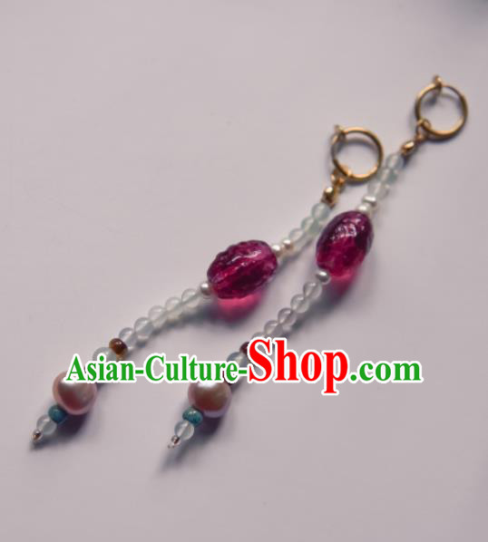 Chinese Ancient Princess Purple Crystal Bead Ear Accessories Traditional Hanfu Earrings for Women