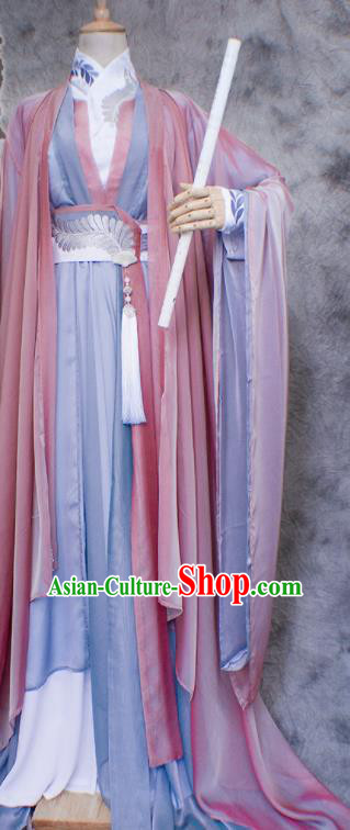 Traditional Chinese Cosplay Swordsman Nobility Childe Costume Ancient Royal Highness Hanfu Clothing for Men