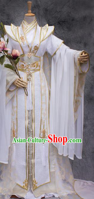 Traditional Chinese Cosplay King Swordsman White Costume Ancient Royal Highness Hanfu Clothing for Men