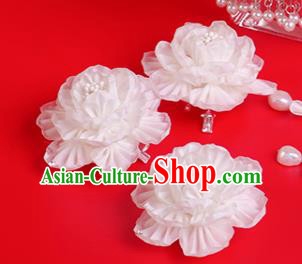 Japanese Geisha Kimono White Peony Hair Claw Hairpins Traditional Yamato Hair Accessories for Women