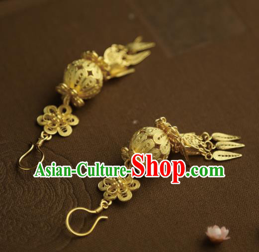 Chinese Ancient Court Golden Earrings Traditional Princess Hanfu Jewelry Accessories for Women