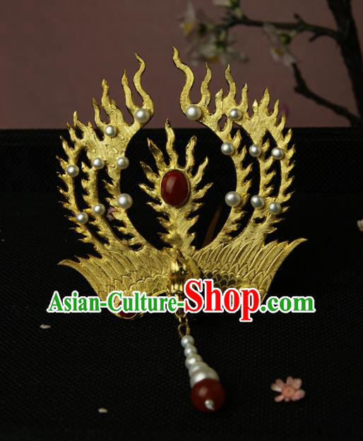 Chinese Ancient Ming Dynasty Golden Phoenix Tassel Hairpins Hair Clip Traditional Hanfu Hair Accessories for Women