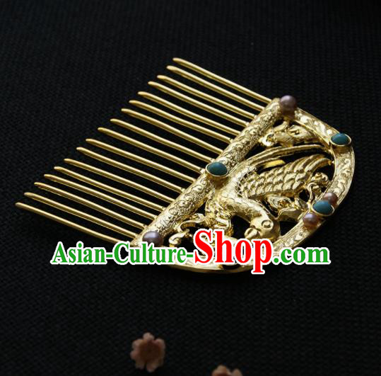 Chinese Ancient Queen Golden Carving Parrot Hair Comb Hairpins Traditional Hanfu Hair Accessories for Women