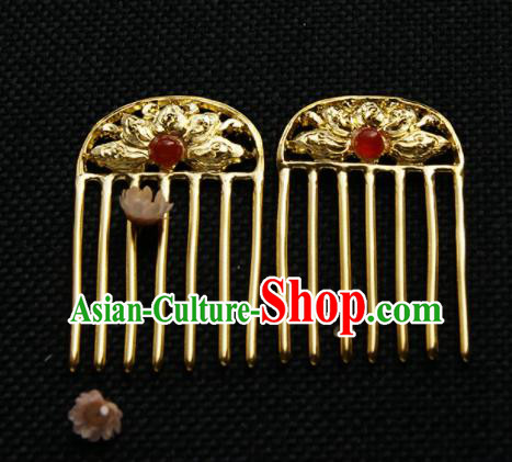 Chinese Ancient Queen Golden Carving Lotus Hair Comb Hairpins Traditional Hanfu Hair Accessories for Women