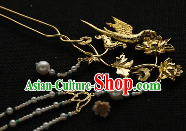 Chinese Ancient Queen Golden Carving Lotus Parrot Tassel Hairpins Traditional Hanfu Hair Accessories for Women