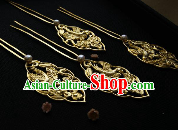 Chinese Ancient Queen Golden Parrot Hairpins Traditional Hanfu Hair Accessories for Women