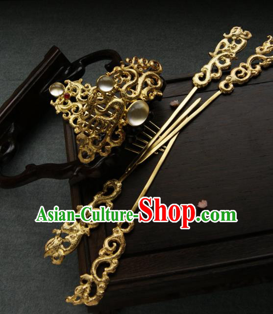 Chinese Ancient Tang Dynasty Queen Hair Comb Golden Hairpins Traditional Hanfu Hair Accessories for Women