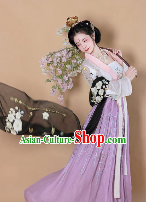 Chinese Traditional Tang Dynasty Court Lady Replica Costumes Ancient Las Meninas Hanfu Dress for Women