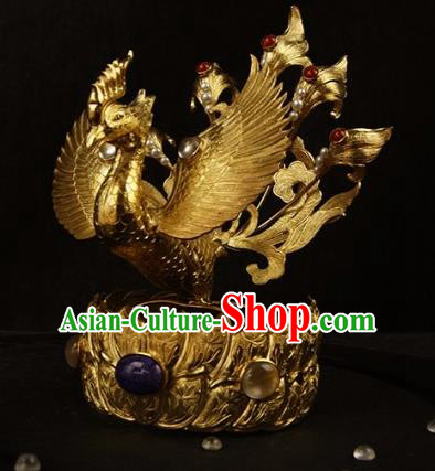 Chinese Ancient Tang Dynasty Golden Phoenix Coronet Hairpins Traditional Hanfu Hair Accessories for Women