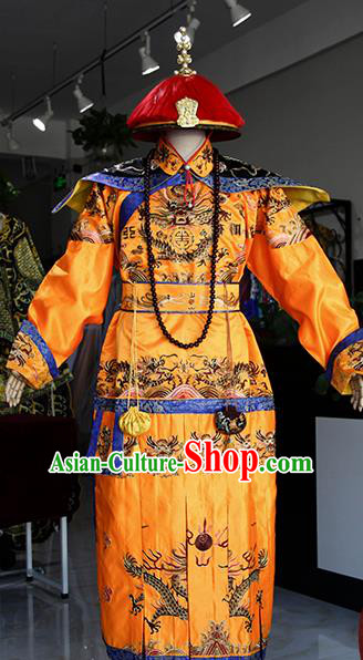 Chinese Ancient Drama Costumes Traditional Qing Dynasty Emperor Qianlong Imperial Robe for Men