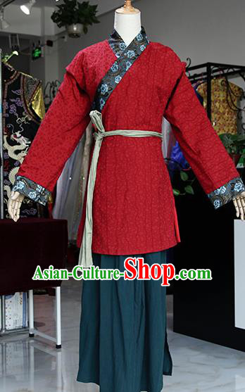 Chinese Ancient Drama Maidservants Red Costumes Traditional Song Dynasty Water Margin Pan Jinlian Dress for Women
