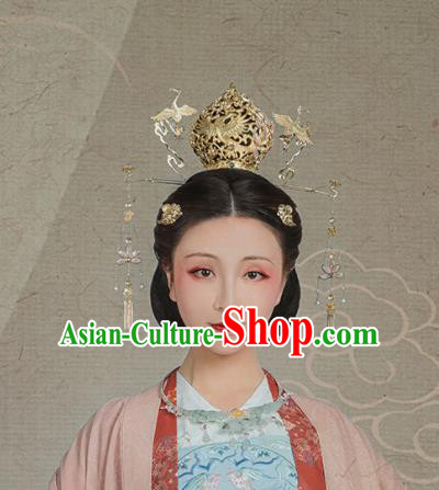Chinese Ancient Tang Dynasty Queen Golden Phoenix Coronet Hairpins Traditional Hanfu Hair Accessories Complete Set for Women