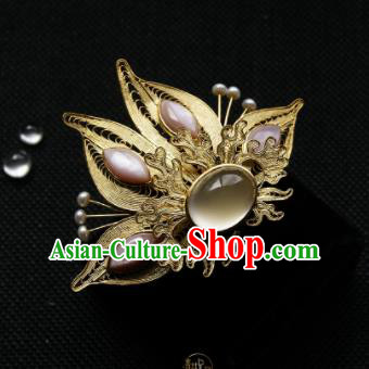 Chinese Ancient Ming Dynasty Queen Hairpins Golden Hair Claw Traditional Hanfu Hair Accessories for Women