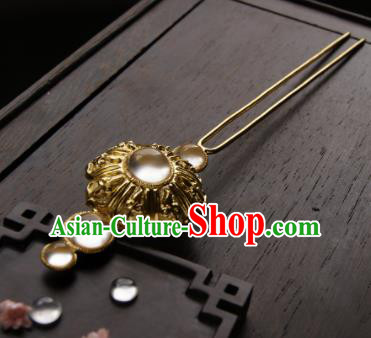 Chinese Ancient Ming Dynasty Queen Lotus Hairpins Golden Hair Clip Traditional Hanfu Hair Accessories for Women