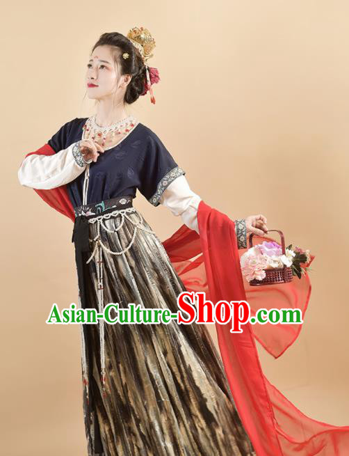 Chinese Traditional Tang Dynasty Palace Princess Replica Costumes Ancient Apsaras Flying Hanfu Dress for Women