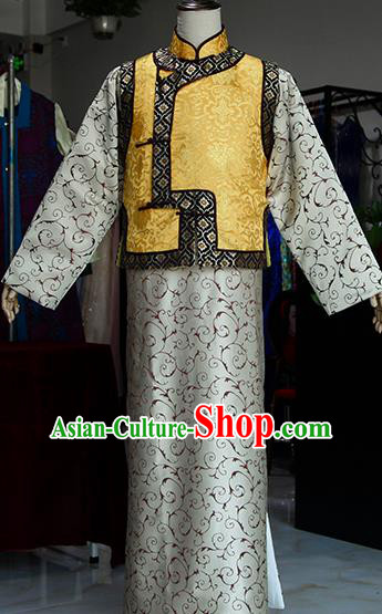 Chinese Ancient Drama Ministry Councillor Costumes Traditional Qing Dynasty Prince Clothing for Men