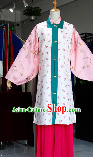 Chinese Ancient Drama Costumes Traditional Ming Dynasty Young Mistress White Dress for Women