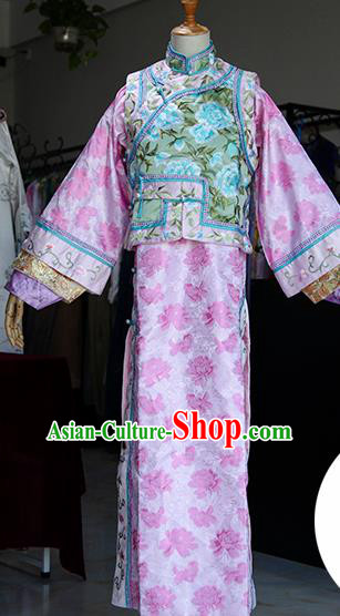Chinese Ancient Drama Court Lady Costumes Traditional Qing Dynasty Princess Pink Dress for Women