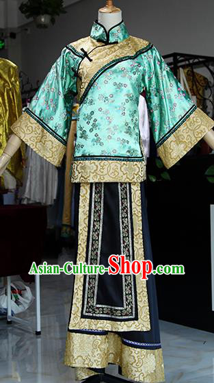 Chinese Ancient Drama Court Lady Green Costumes Traditional Qing Dynasty Young Mistress Dress for Women