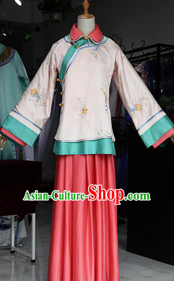 Chinese Ancient Drama Young Mistress Pink Costumes Traditional Ming Dynasty Young Lady Dress for Women