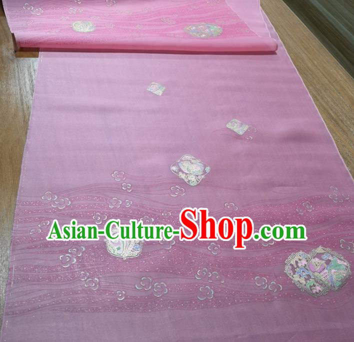 Chinese Traditional Peach Blossom Pattern Design Pink Silk Fabric Brocade Asian Satin Material
