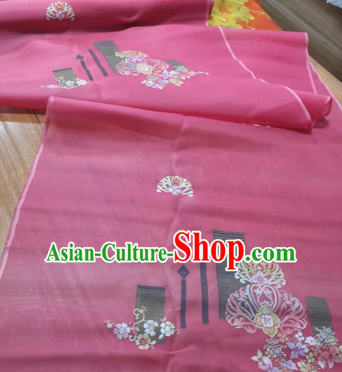Chinese Traditional Peach Blossom Pattern Design Rosy Silk Fabric Brocade Asian Satin Material