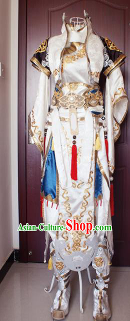 Chinese Ancient Cosplay Knight Young Hero White Clothing Traditional Hanfu Swordsman Costume for Men
