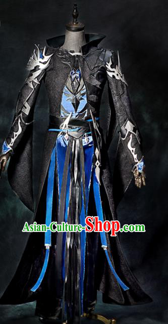 Chinese Ancient Drama Cosplay General Black Clothing Traditional Hanfu Swordsman Costume for Men