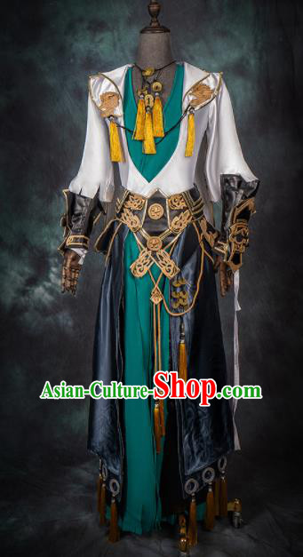 Chinese Ancient Drama Cosplay General Green Armor Clothing Traditional Hanfu Swordsman Costume for Men