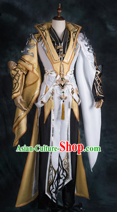 Chinese Ancient Drama Cosplay General Golden Armor Clothing Traditional Hanfu Swordsman Costume for Men