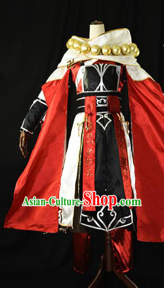 Chinese Ancient Cosplay Kawaler Knight Monk Red Clothing Traditional Hanfu Swordsman Costume for Men