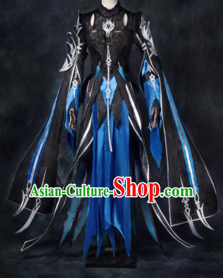 Chinese Ancient Cosplay Heroine Blue Armor Female Knight Dress Traditional Hanfu Swordsman Costume for Women