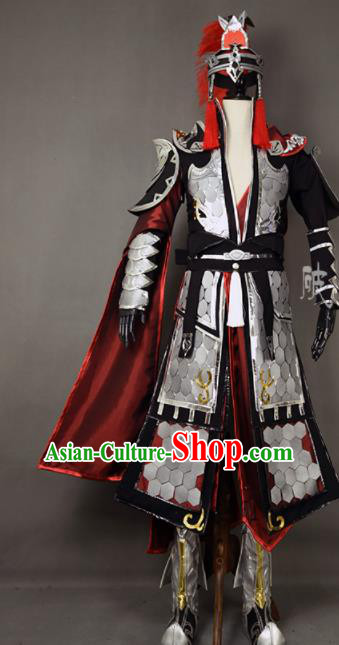 Chinese Ancient Cosplay Knight General Armor Clothing Traditional Hanfu Swordsman Costume for Men