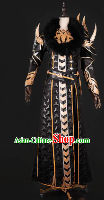 Chinese Ancient Drama Cosplay General Armor Knight Black Clothing Traditional Hanfu Swordsman Costume for Men
