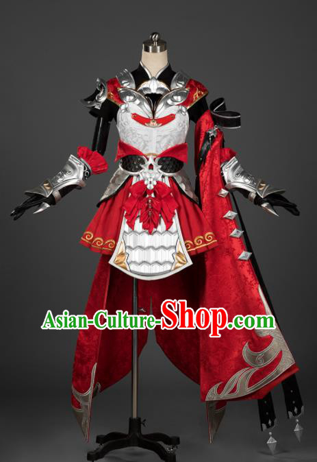 Chinese Ancient Cosplay Female General Armor Heroine Red Dress Traditional Hanfu Swordsman Costume for Women