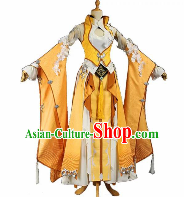 Chinese Ancient Cosplay Female General Heroine Golden Dress Traditional Hanfu Swordsman Costume for Women