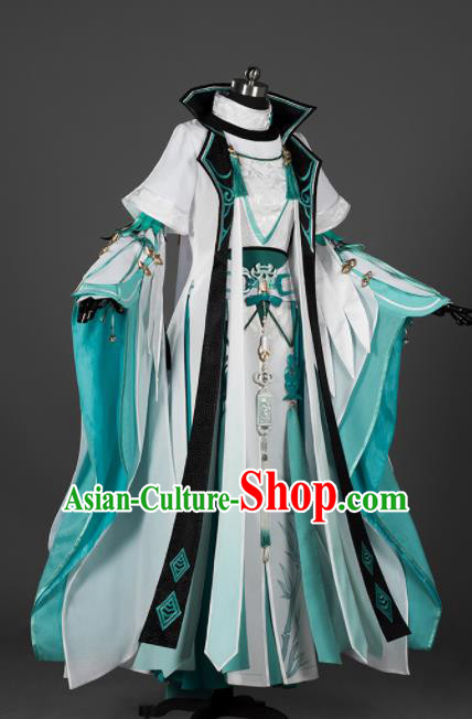 Chinese Ancient Cosplay Female General Heroine Green Dress Traditional Hanfu Swordsman Costume for Women