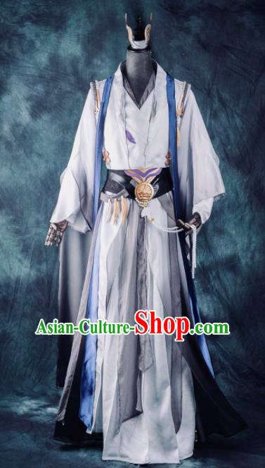 Chinese Ancient Drama Cosplay Knight Young General Grey Clothing Traditional Hanfu Swordsman Costume for Men