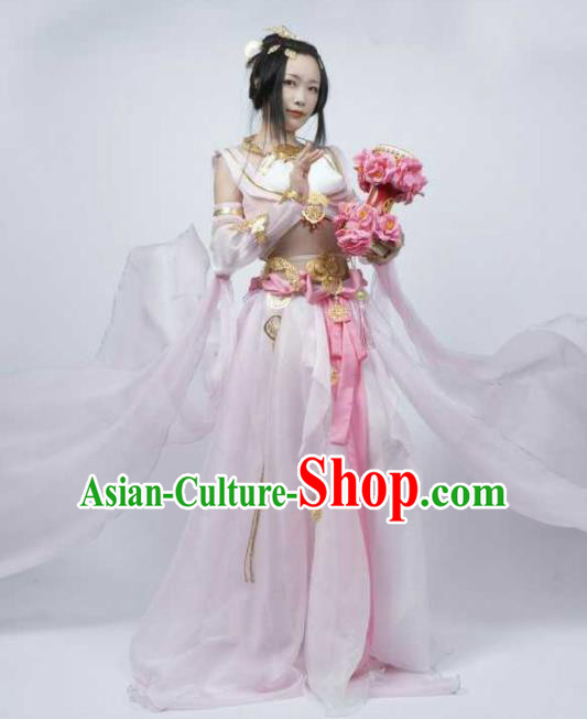 Chinese Ancient Cosplay Female General Heroine Light Pink Dress Traditional Hanfu Princess Swordsman Costume for Women