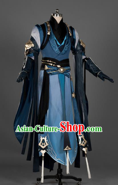 Chinese Ancient Drama Cosplay Young General Knight Navy Clothing Traditional Hanfu Swordsman Costume for Men