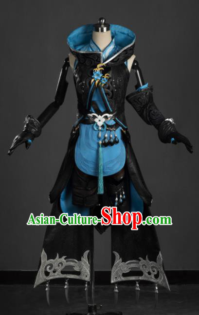 Chinese Ancient Cosplay Female General Heroine Black Dress Traditional Hanfu Princess Swordsman Costume for Women