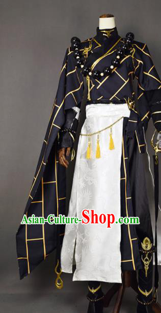 Chinese Ancient Cosplay Knight Monk Black Clothing Traditional Hanfu Swordsman Costume for Men