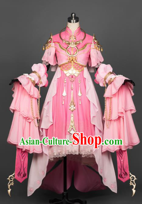 Chinese Ancient Cosplay Fairy Female Knight Heroine Pink Dress Traditional Hanfu Princess Swordsman Costume for Women