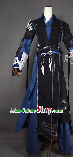 Chinese Ancient Cosplay Young Hero Knight Black Clothing Traditional Hanfu Swordsman Costume for Men