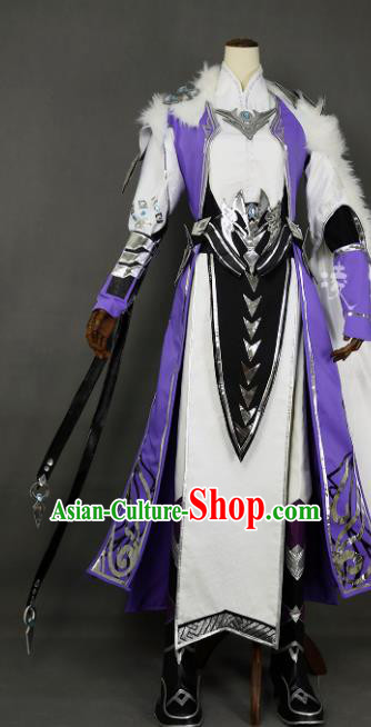 Chinese Ancient Cosplay Young Hero Purple Clothing Traditional Hanfu Swordsman Costume for Men