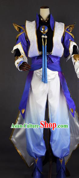 Chinese Ancient Cosplay Young Knight Purple Clothing Traditional Hanfu Swordsman Costume for Men