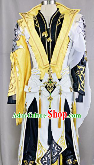 Chinese Ancient Drama Cosplay Young Knight Yellow Clothing Traditional Hanfu Swordsman Costume for Men