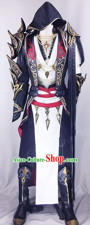 Chinese Ancient Drama Cosplay Assassin Young Knight Black Clothing Traditional Hanfu Swordsman Costume for Men