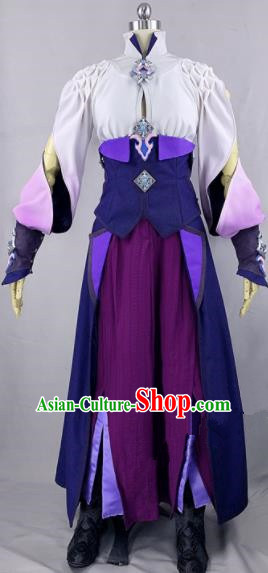 Chinese Ancient Cosplay Heroine Purple Dress Traditional Hanfu Female Swordsman Costume for Women
